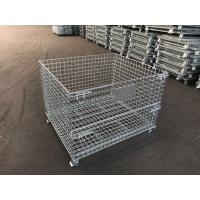 China storage cage wire mesh container/industrial stackable storage/Storage Containers Collapsible Eur Container with Wheels on sale