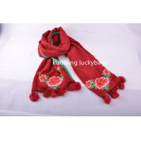 Best National wind hijab scarf with pompoms tassel fashion ladies' cotton winter scarf with embroidery wholesale