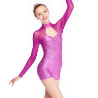 Best Contemporary Biketard Dance Wear Mesh Joints Sequins Gymnastics Performance Dance Competition Clothes wholesale