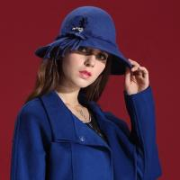 Best CE Blue Wool Felt Women Hat Winter Bucket Hat For Church / Wedding wholesale