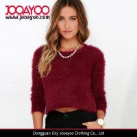 China Women Custom Long Sleeves Wine Red Cropped Top Knit Sweater on sale