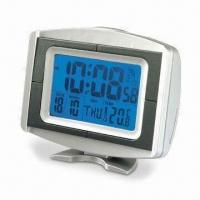 China Radio-controlled Digital Clock with Thermometer, Reception Indicator, LCD Backlight and RoHS Mark on sale