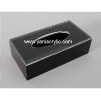 Best Promotional Black Handmade Laser Engraving Facial Dispenser Acrylic Tissue Holder For Home wholesale