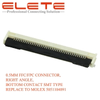 Best 0.5MM FFCFPC CONNECTOR, RIGHT ANGLE, BOTTOM CONTACT SMT TYPE REPLACE TO MOLEX 5051104091 wholesale