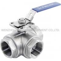 Best 316 CF8M 3 Way Sanitary Ball Valve With Casting Body , 1-1 / 2 Inch Ball Valve wholesale