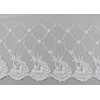 Buy cheap 19 CM Floral Embroidered Lace Trim With Scallop Edge For Dress By OEKO - TEX from wholesalers