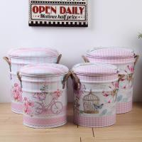 China Pink Padded Storage Stool Paint Bucket Bar Stool Multifunctional Round Sofa Seat Stool with Rope Handle on sale