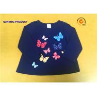 Best Round Neck Childrens Long Sleeve T Shirts , Butterfly Screen Print Cool Kids T Shirts wholesale