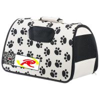 Best Pet Life Airline Approved Zippered Folding Pet Carrier - Beige & Paw Print wholesale