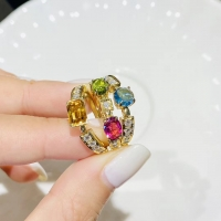 Best Women's 0.2ct 18k Gold Natural Colored Gemstone Ring wholesale