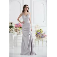 Best Sexy Silver V Neckline Strap Mermaid Long Evening Dress Prom Gowns Beads wholesale
