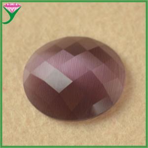 Best HS-23 loose violet oval flat bottom carved face artificial cat eye gemstone wholesale