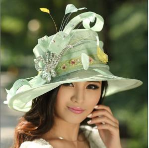 Best 2015 Green Feather Handmade Sinamay Hats/Sinama Hat/Sinamy Hat wholesale