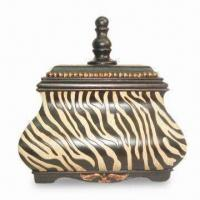 Cheap Decorative Box, Made of Polystone, Hand Painted Popular Zebra Stripe for sale