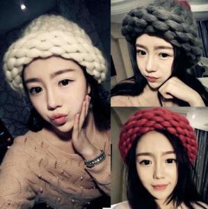 China Autumn and winter Korean fashion hand knitting wool hat lady thick line bar twist fashion warm wool hat on sale