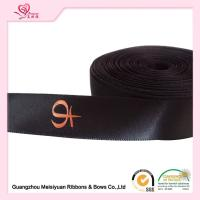 Best Single Sided Printed Satin Ribbon , Black Polyester Personalized Favor Ribbons wholesale