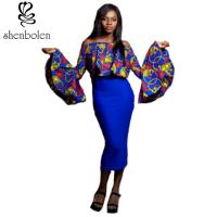 China Women ' S Latest African Fashion Dresses Long Sleeve Pullover Off Shoulder on sale