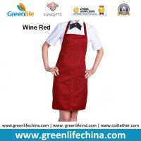 Best Polyester wine red advertisement apron ready for logo printing men women tool accessory wholesale