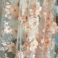 Luxury 3D Floral Beaded Bridal Lace Fabric , Scalloped Edge Wedding Gown Lace Fabric