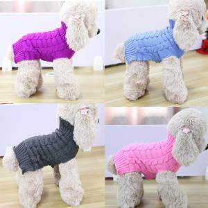 China Crochet Sleeveless Braid Turtleneck XS Dog Sweater on sale