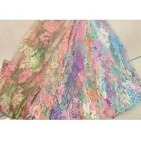 Best 3D Beaded Lace Fabric , Scalloped Multi Color Floral Embroidered Fabric For Skirt wholesale