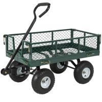 China heavy duty flat mesh bed green color garden tool cart,industrial tool cart,farm tool cart,durable use carts on sale