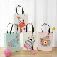 China Durable Carton Card Paper Bag Cartoon Animal Pattern With Twist Handle on sale