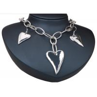 Best Heart Artificial Silver Earrings And Necklace Sets Costume Jewelry With Chian wholesale