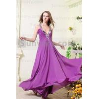 Best Sexy Purple Halter Chiffon Formal Evening Dresses wholesale
