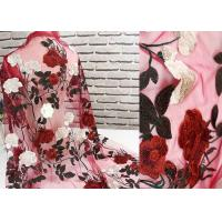 China Breathable Voile Floral Lace Fabric 1.3 Meter Apply To Kids Garment / Gloves on sale