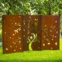 China rusted handmade metal wall art laser cut metal garden art metal yard art on sale