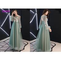 China Floral party dress green pink blue colors long puff sleeves tulle evening dress on sale