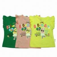 China Kids' T-shirt/100% Cotton Baby Girl T-shirt, Cartoon Printing, OEM and ODM Orders Welcomed on sale