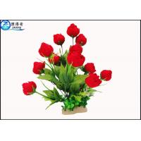 Best Red Rose Flowers Water Drops Plastic Aquatic Plants With Ceramic Base For Home Decorations wholesale