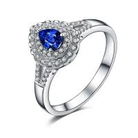 Best Pear Shape 18k Gold Sapphire Diamond Ring White Gold And Gemstone Jewelry For Women wholesale