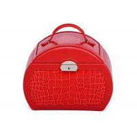 Best Customized Small Red PU leather jewellery storage box with mirror , necklace storage box wholesale