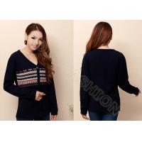 Best Fashion Long Sleeve Ladies V Neck Sweaters in Jacquard Pattern , Ladies Cardigan Sweaters wholesale