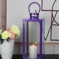 China Hot Selling Good Reputation Purple Metal Garden Candle Light Lantern Decorative candle holder Outdoor Tea Light Decor on sale