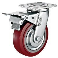 China 6x 2Industrial Total Locking Brake Heavy Duty Castor PU Wheel With Swivel Plate Mounted on sale