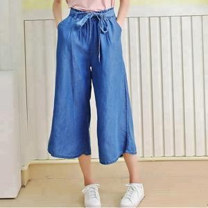 Best 100% Lyocell new designs photos wide leg ladies pants women bell-bottom jeans wholesale