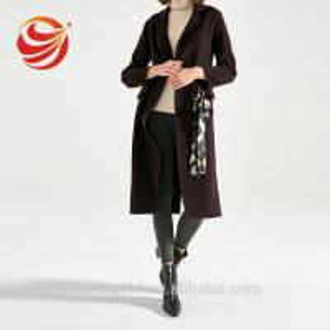 Best Wool Long Women's Casual Winter Coats Dark Brown Color With Printed Belt wholesale