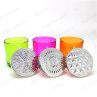China custom colorful glass candle holder with metal lid on sale