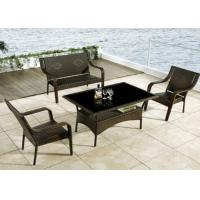 China Sun Room Furniture Plastic Rattan Dining Sets Outdoor , Dark Coffee wholesale