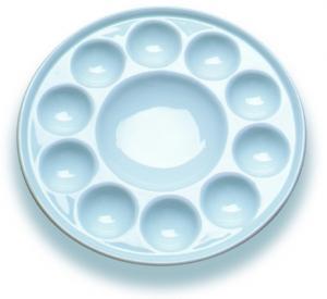 Best 10 Wells Paint Mixing Palette Art Paint Set , Round Porcelain Watercolour Palette wholesale