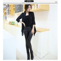 China women's plus velvet warm splicing pu leather pencil pants trousers for lady on sale