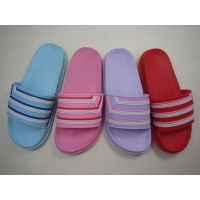 China Casual Flat Pvc Stripe Upper Slide Ladies Eva Slippers on sale