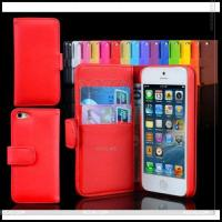 Best Fashionable Left and Right Suport with Card Slot Leather Wallet Case for Apple iPhone 5 P-Iph5case008 wholesale