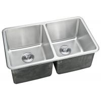 China Double Bowl Kitchen Sink / Double Basin Stainless Steel Sink Rectangular Shape on sale