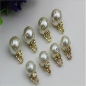 Best High-grade handmade jewelry accessories zinc alloy gold metal rhinestone pearl pendant button wholesale
