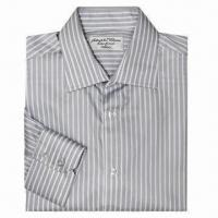 China Men's Cotton Dress Shirt, black and white striped, high density on sale